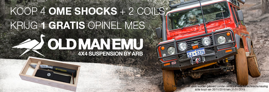 Koop 4 OME shocks + 2 coils krijg 1 gratis opinel mes